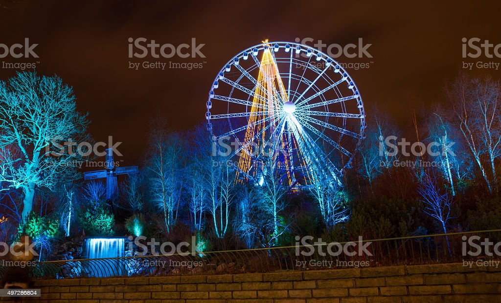 Christmas lights in Amusement Park Liseberg, Gothenbur, Sweden stock photo