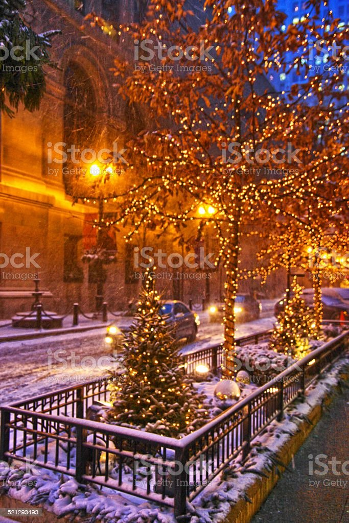 Christmas Lights In Chicago Stock Photo