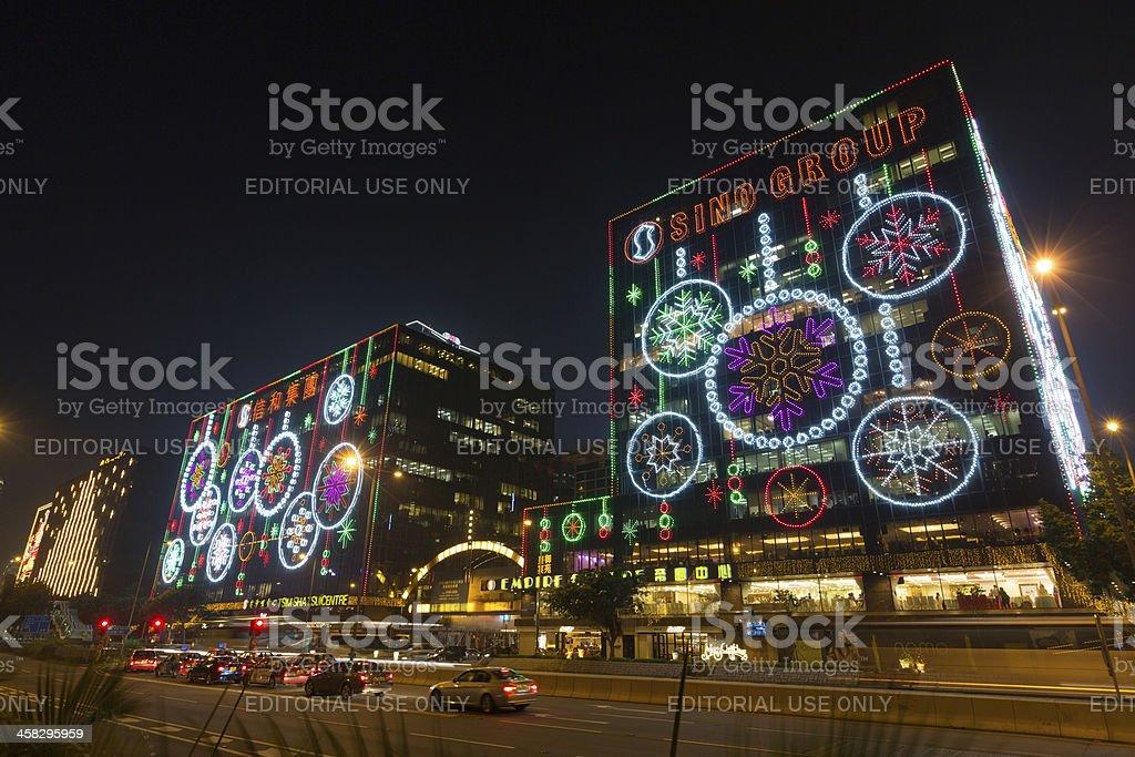 Christmas Lights in Hong Kong royalty-free stock photo