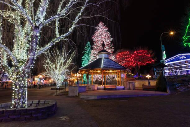 Christmas lights in Leavenworth, Washington stock photo