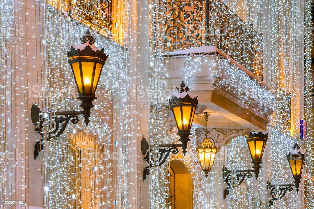 Christmas lights in Moscow stock photo