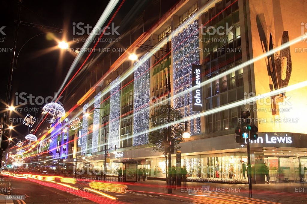 Christmas Lights In Oxford Street At Night stock photo
