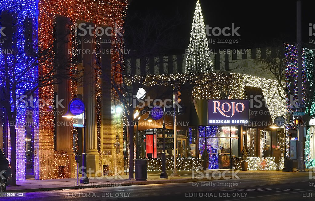 Christmas Lights In Rochester Michigan Royalty Free Stock Photo