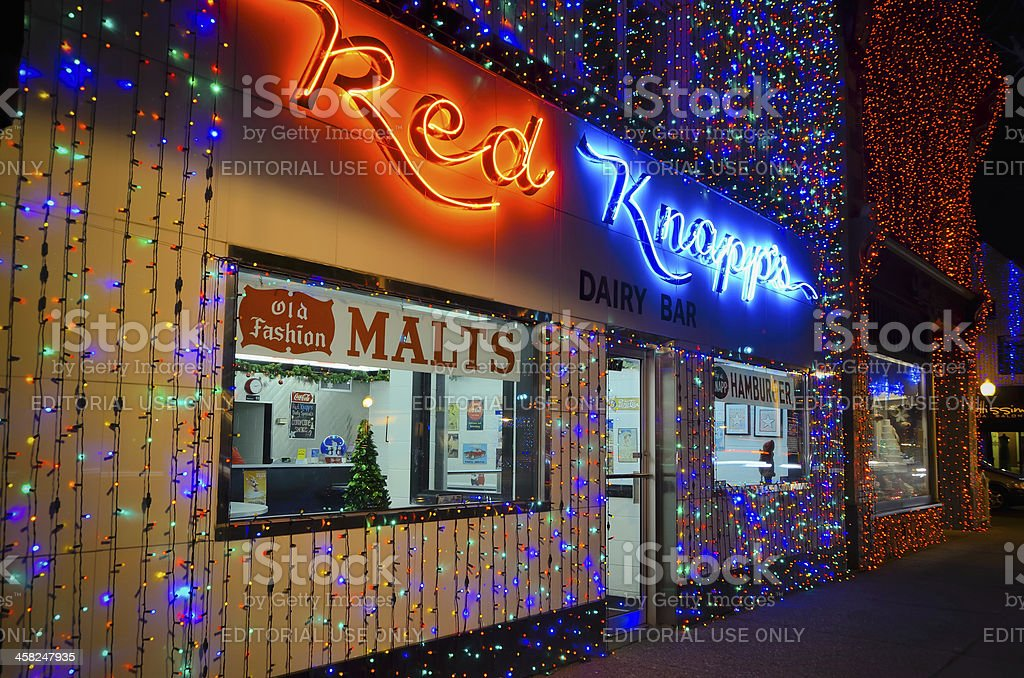 Christmas Lights In Rochester Michigan Stock Photo