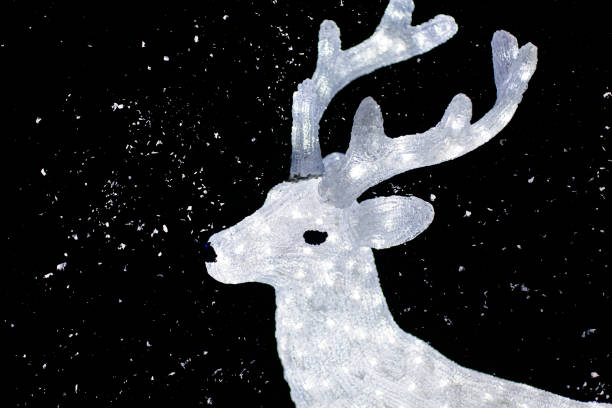 Christmas lights in the shape of reindeer and snow. stock photo