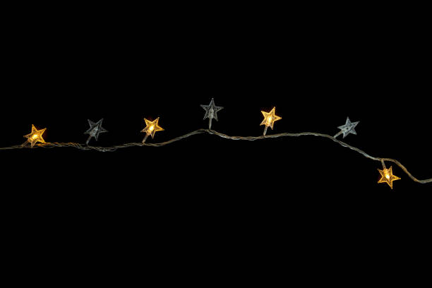 Christmas lights isolated on black background , happy new year - Christmas concept stock photo