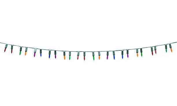christmas lights isolated on white - string stock photos and pictures