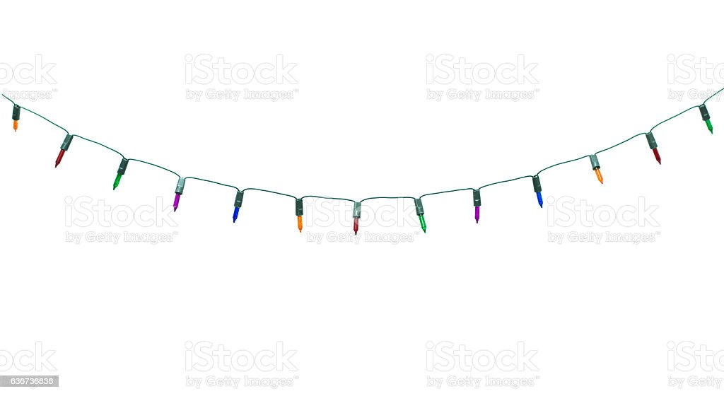 Christmas lights isolated on white stock photo