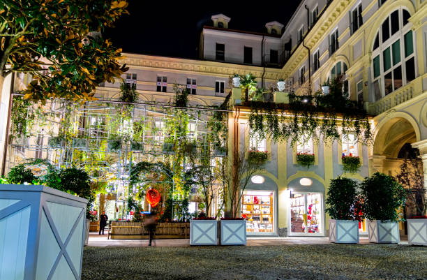 Christmas lights near Piazza San Carlo (Turin; Piedmont, Italy) stock photo