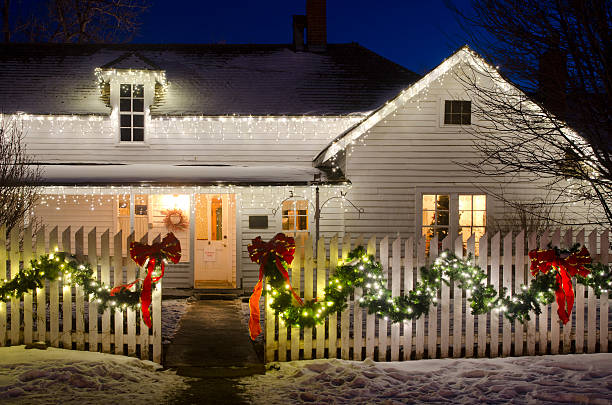 Christmas Lights on a Farm House