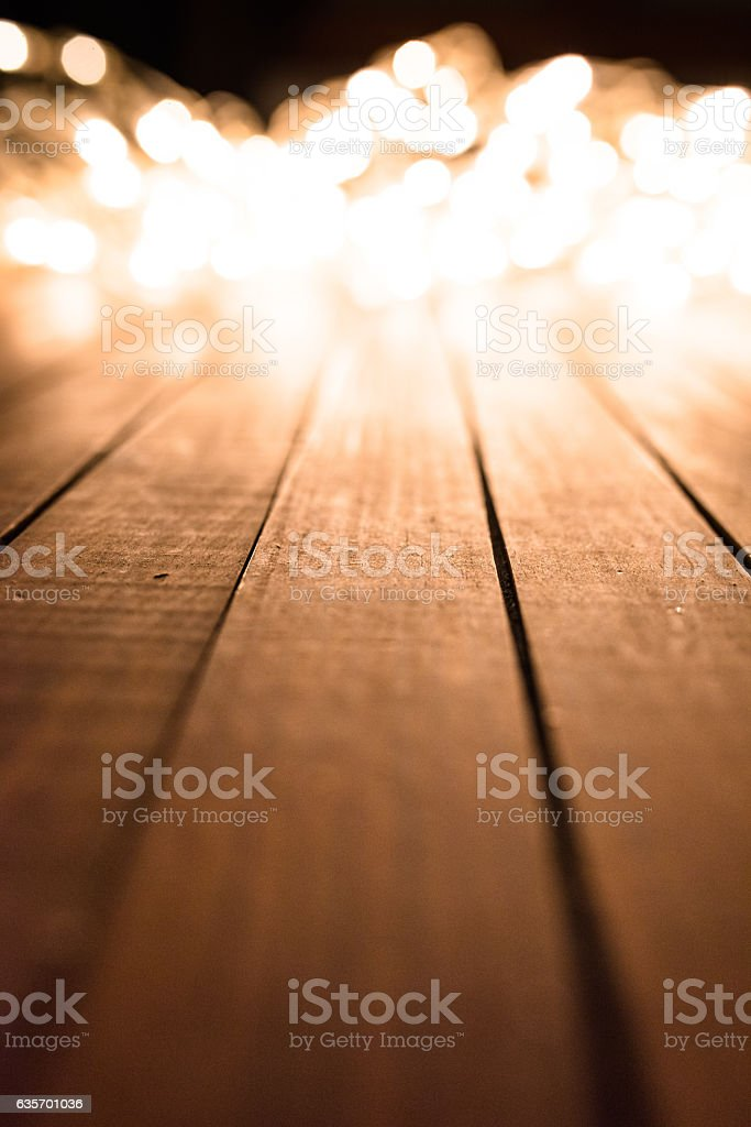 christmas lights on a timber plank wood royalty-free stock photo