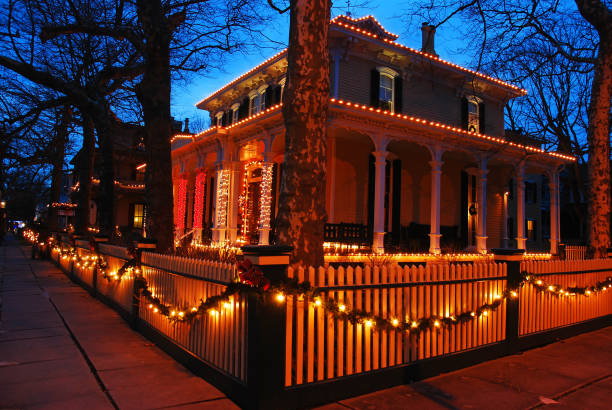 Christmas lights on a Victorian Home stock photo