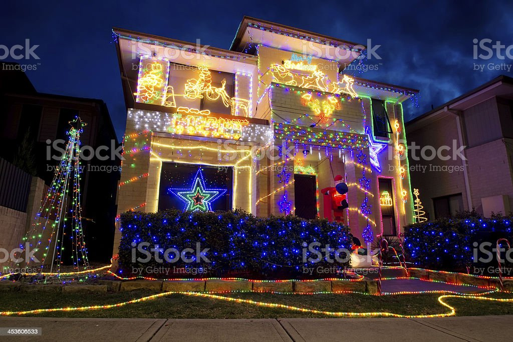 Christmas Lights on Australian House (Ropes Crossing) stock photo