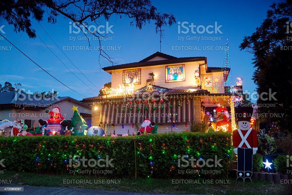 Christmas Lights on Australian House (Emu Plains) stock photo