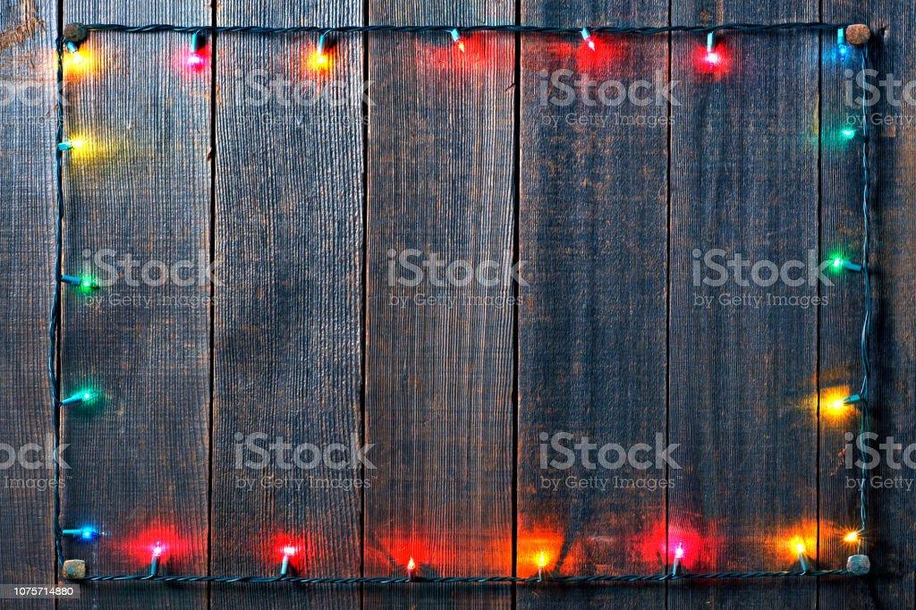 Christmas Lights On Fence stock photo