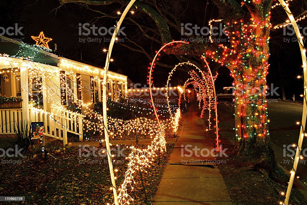 Christmas lights on house and sidewalk royalty-free stock photo