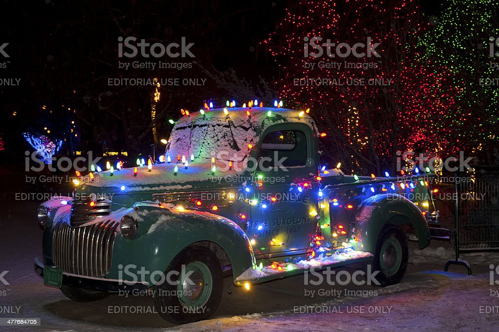 Christmas Lights On Old Chevy Truck Stock Photo & More Pictures of ...