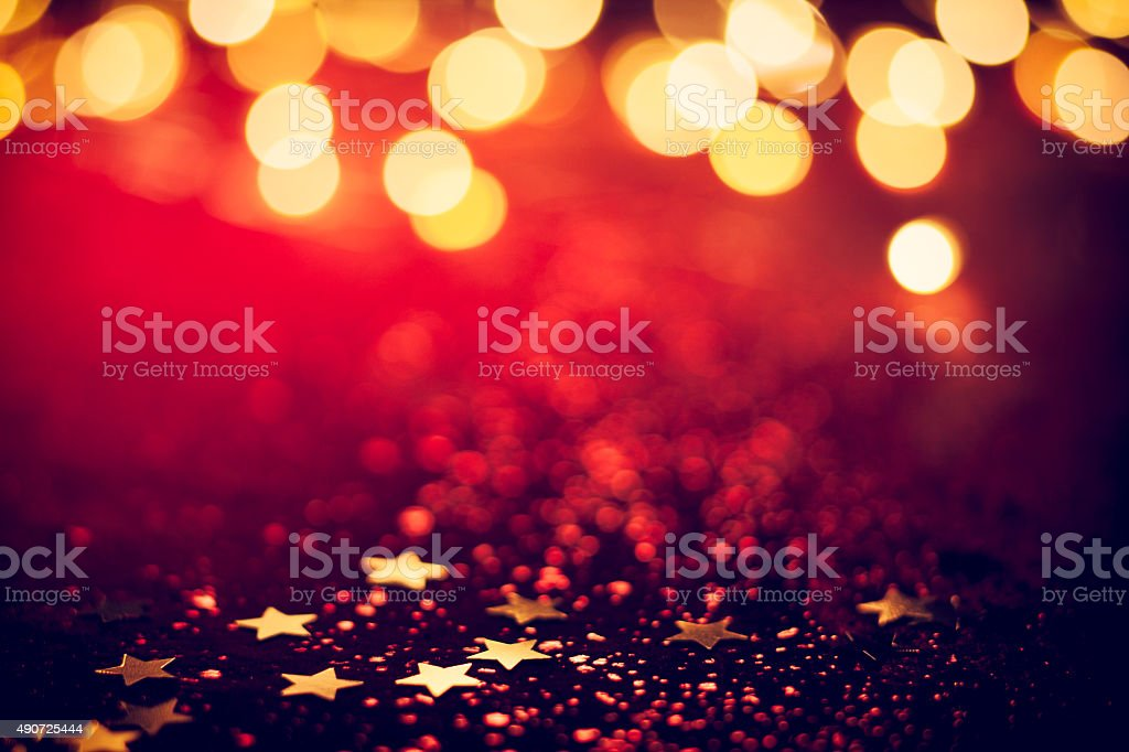 Illuminations de Noël sur fond rouge brillant Bokeh - Photo