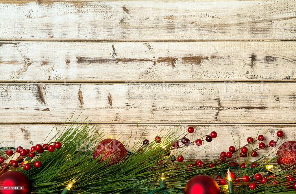 Christmas Lights On Rustic Wood Background Royalty Free Stock Photo