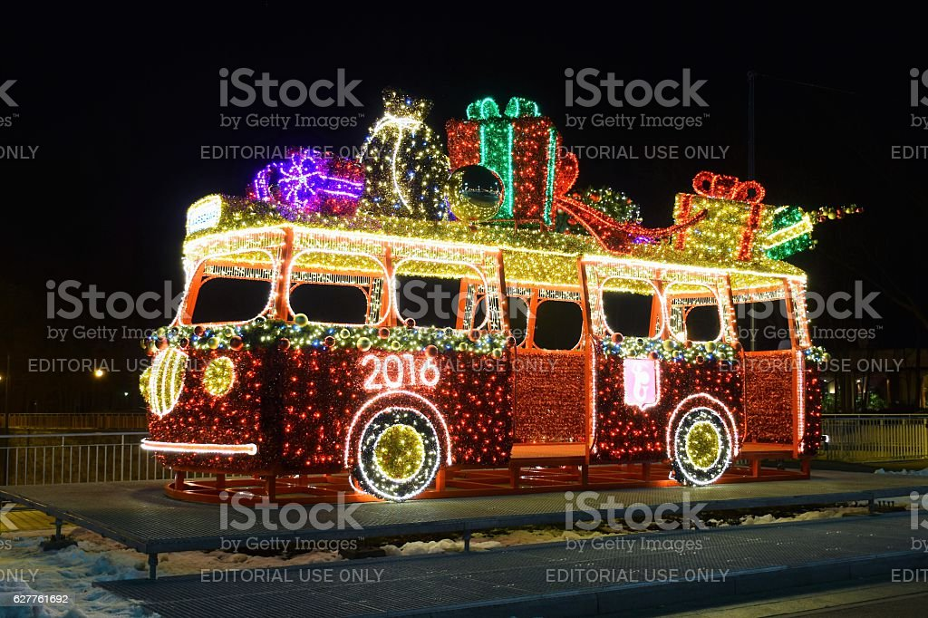 christmas lights on the classic bus model royalty free stock photo