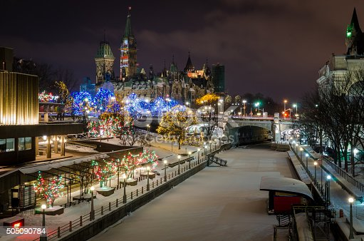 Christmas Lights decorate downtown Ottawa, Canada and the Rideau Canal