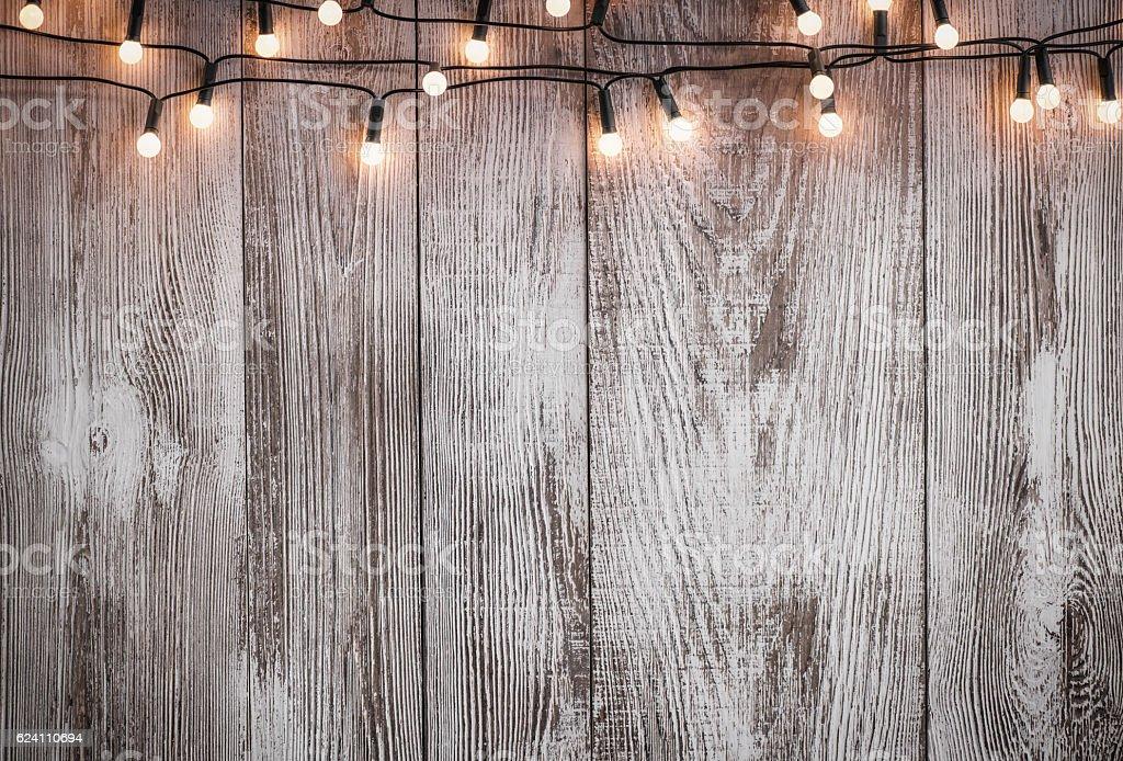 Christmas lights auf Holz vintage-Stil – Foto