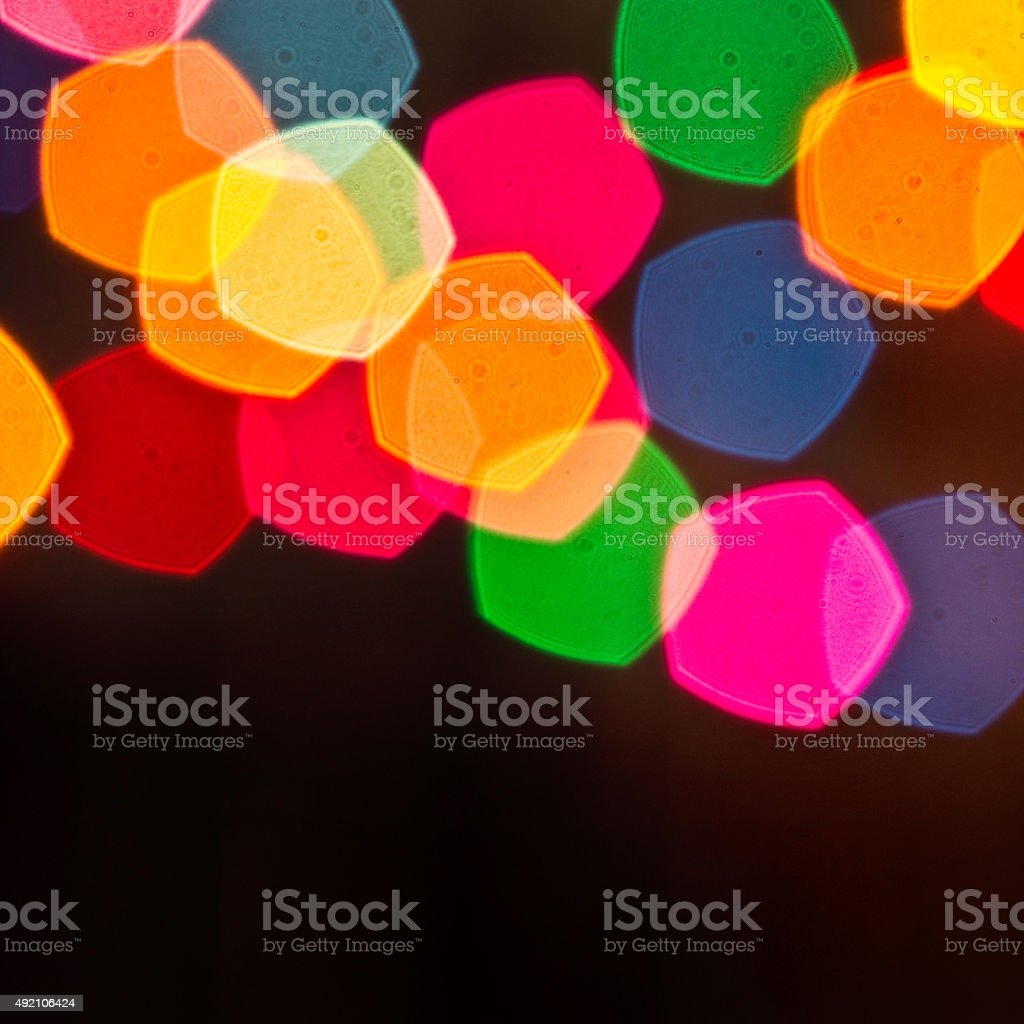 christmas lights out of focus stock photo