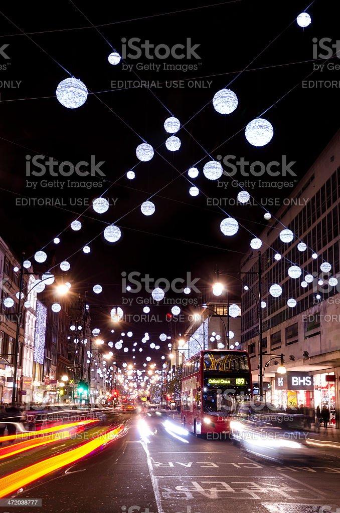 Christmas lights, Oxford Street, London royalty-free stock photo
