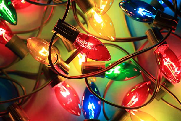christmas lights stock photo - Amber Christmas Lights