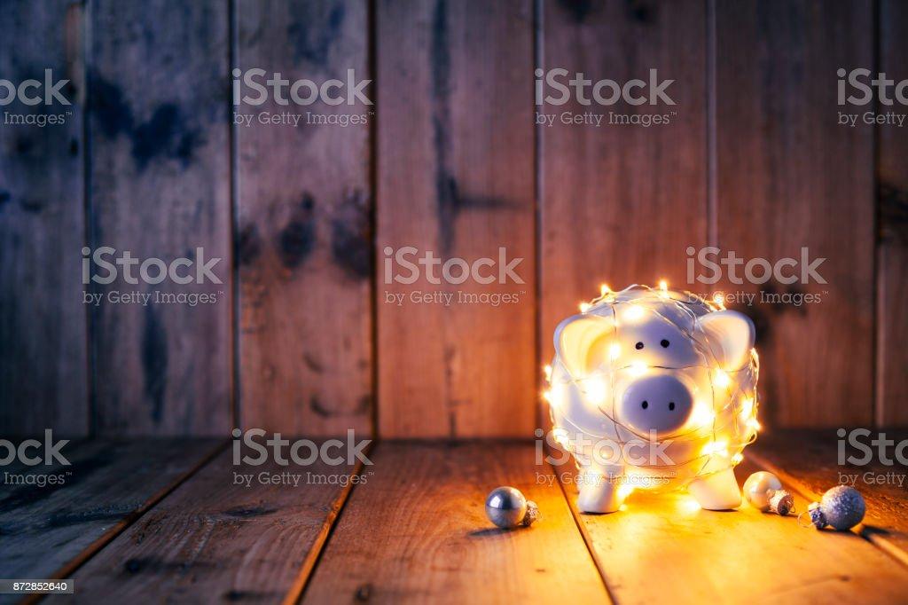 Christmas Lights tirelire - fond vieux bois - Photo