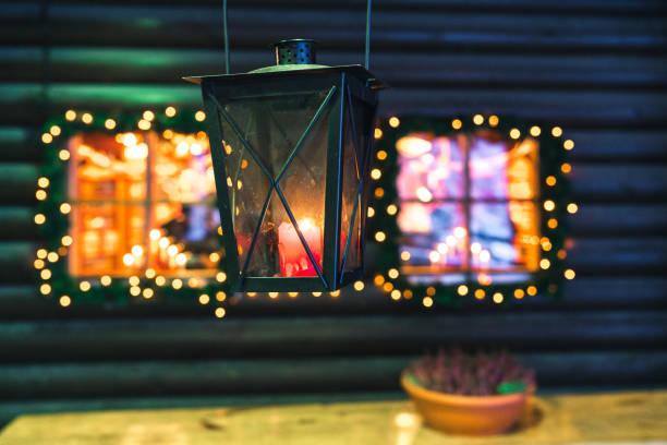 Christmas lights windows stock photo