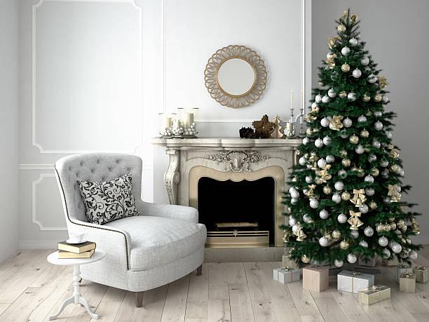weihnachten wohnzimmer. 3 d abbildung - kamin wohnzimmer stock-fotos und bilder