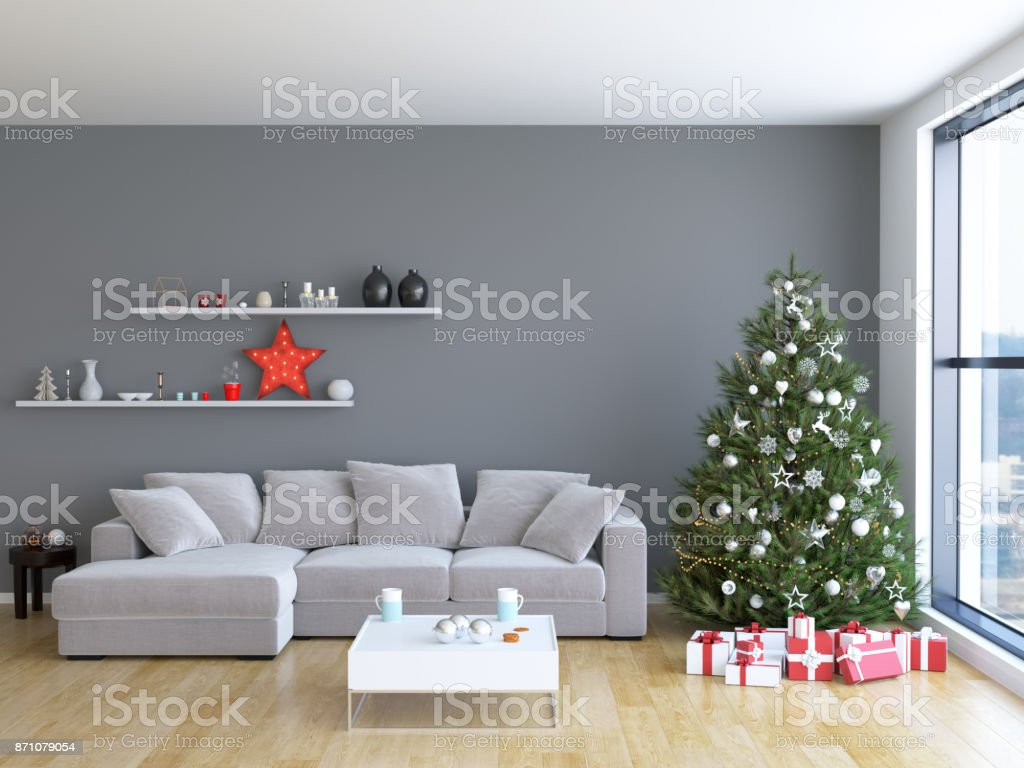 Weihnachts Wohnzimmer Interieur – Foto