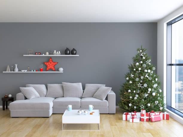 weihnachts wohnzimmer interieur - weihnachten haus dekoration stock-fotos und bilder