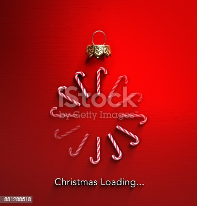istock Christmas Loading - Candy Canes In Bauble Shape And Downloading 881288518