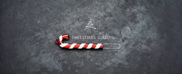 Christmas loading - Candy Holiday Blackboard Metal Red Fun Humor stock photo