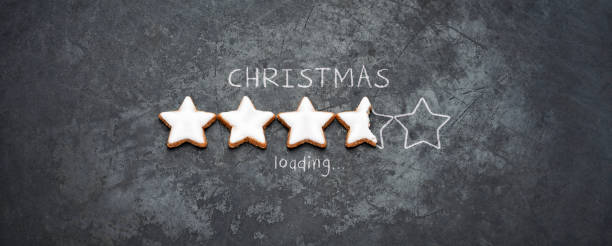 Christmas loading - Cookie Holiday Blackboard Metal Red Fun Humor stock photo