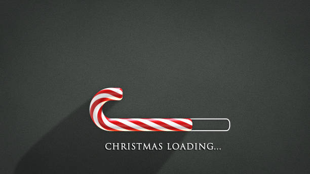 Christmas Loading Christmas greeting card with candy isolated on school blackboard background candy cane stock pictures, royalty-free photos & images