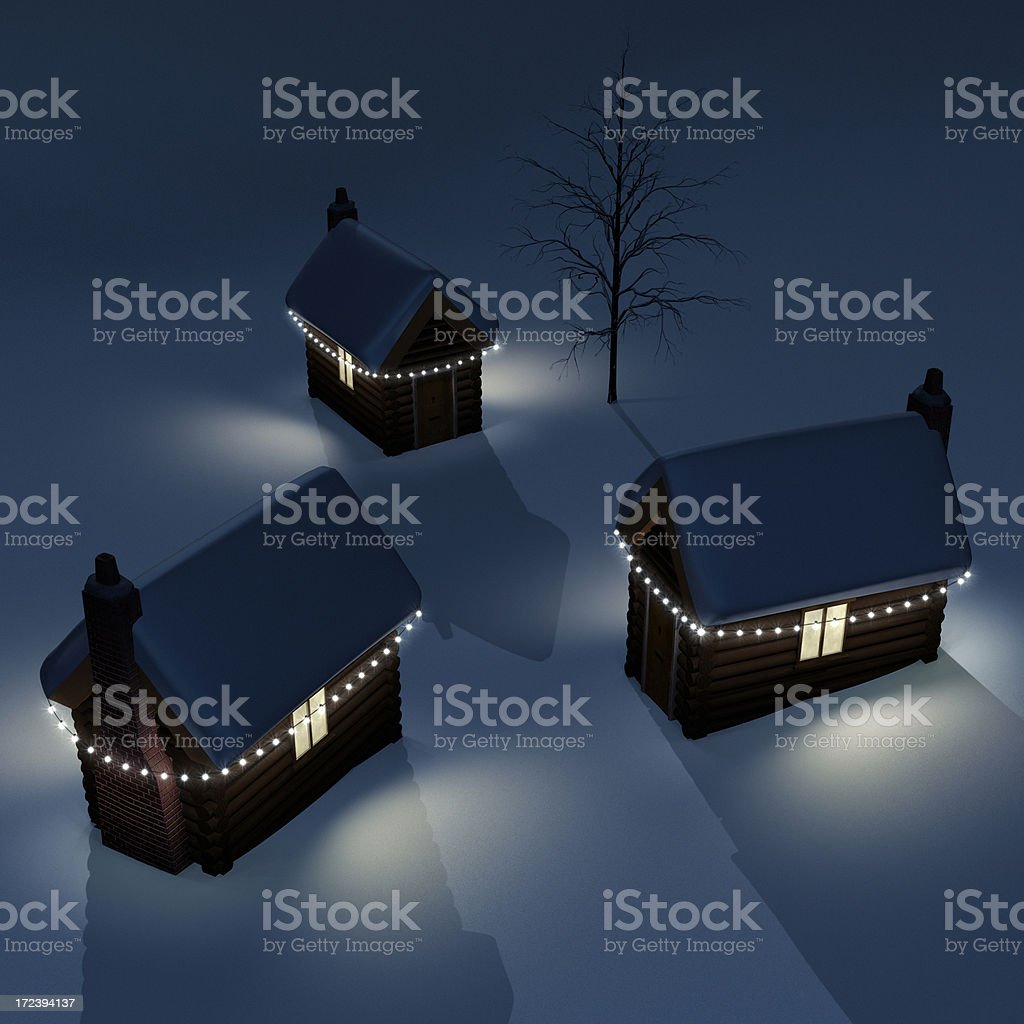 Christmas Log Cabins XL royalty-free stock photo