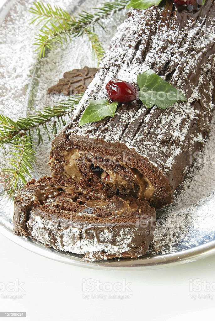 Christmas log cake stock photo