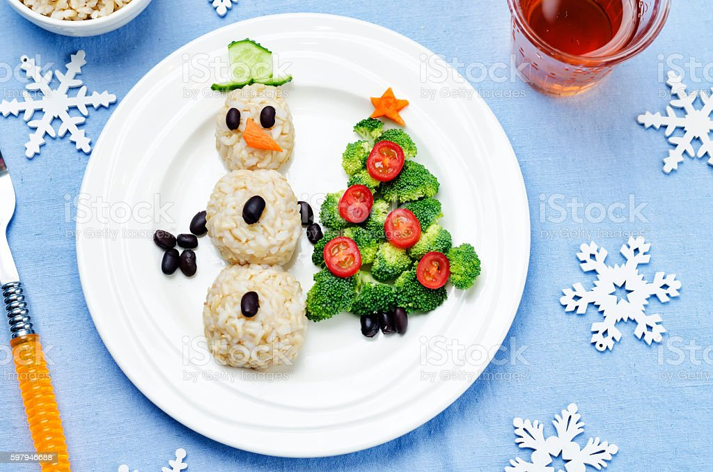 Christmas lunch with healthy kid's food foto royalty-free