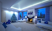 Digitally generated beautiful Christmas style Scandinavian spacious living room with modern sofas, fireplace, modern lighting system and big windows with curtains.