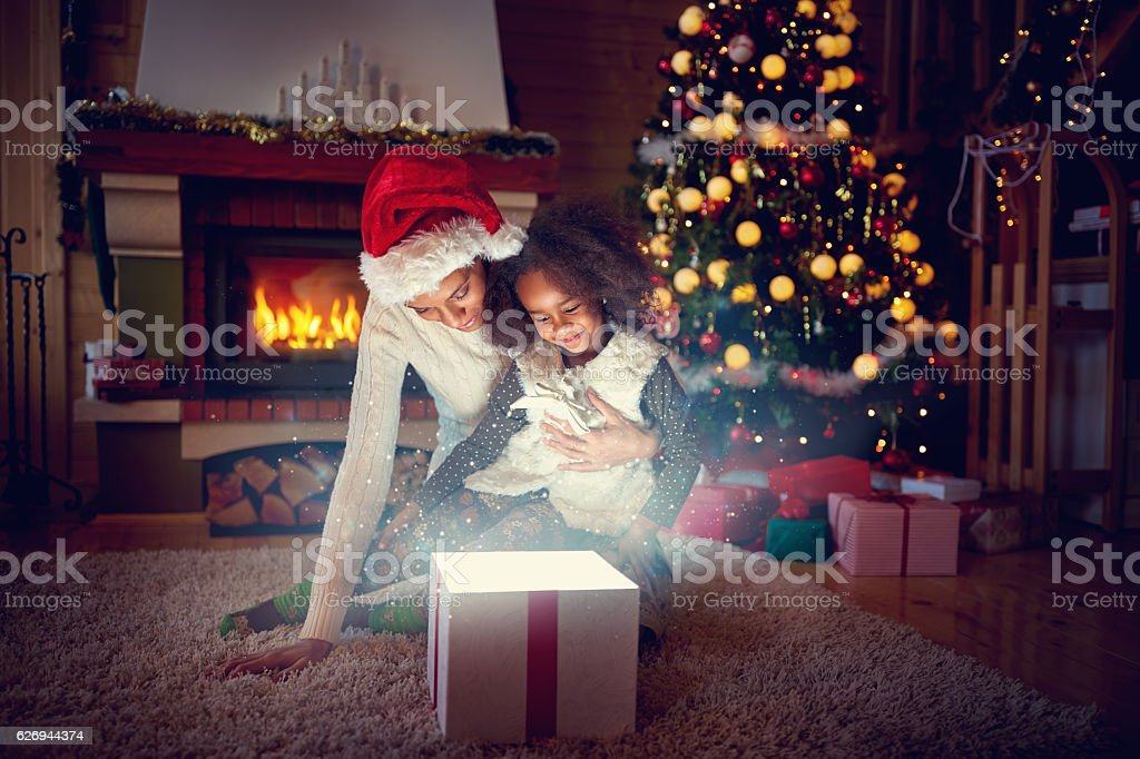Christmas magic gift box royalty-free stock photo