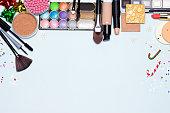 Christmas makeup cosmetics background