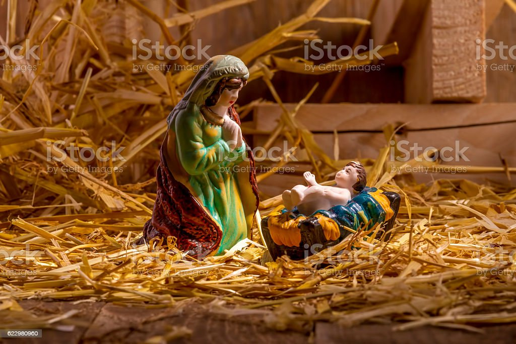 Christmas Manger scene with figurines - foto stock