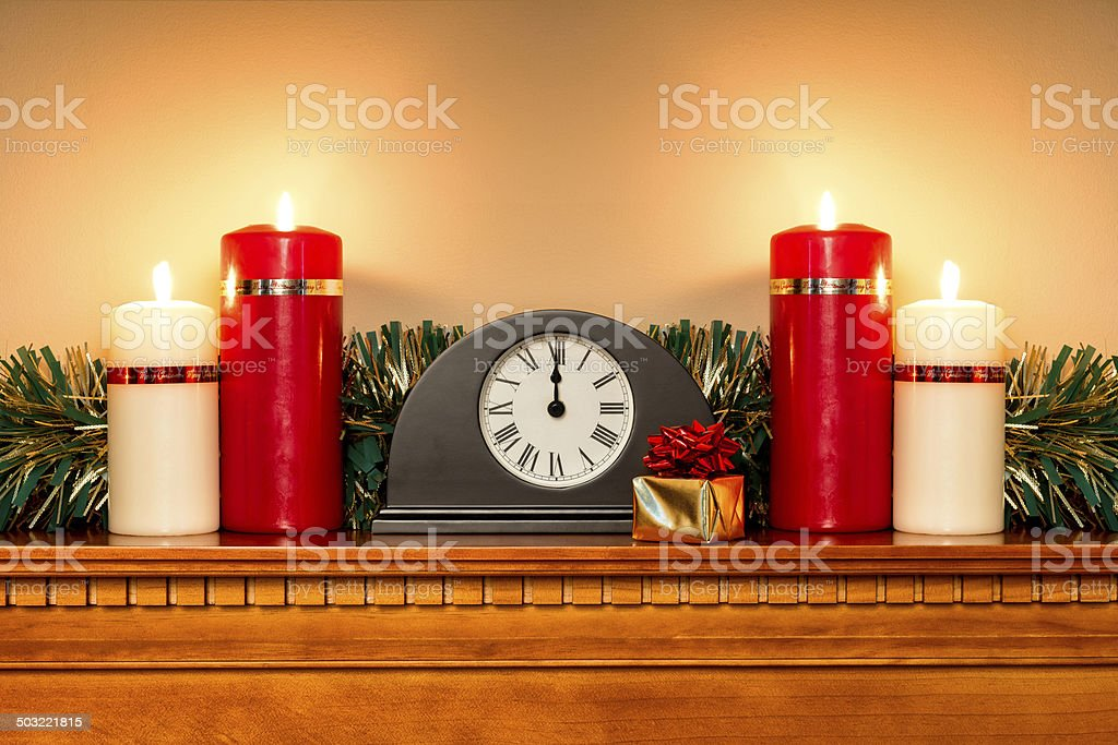 Christmas mantlepiece royalty-free stock photo