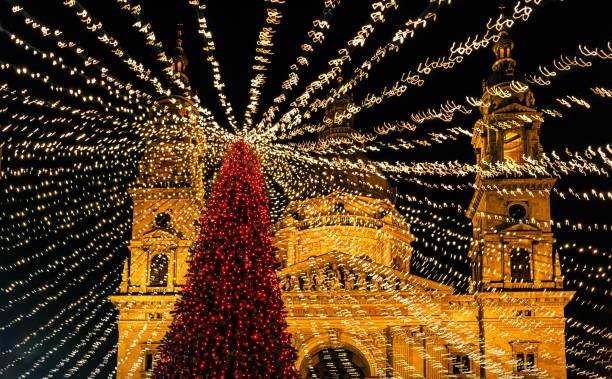 Marché de Noel et sapin -Budapest - Hongrie - Photo