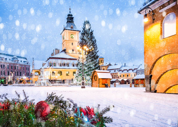 Christmas market and decorations tree in Brasov