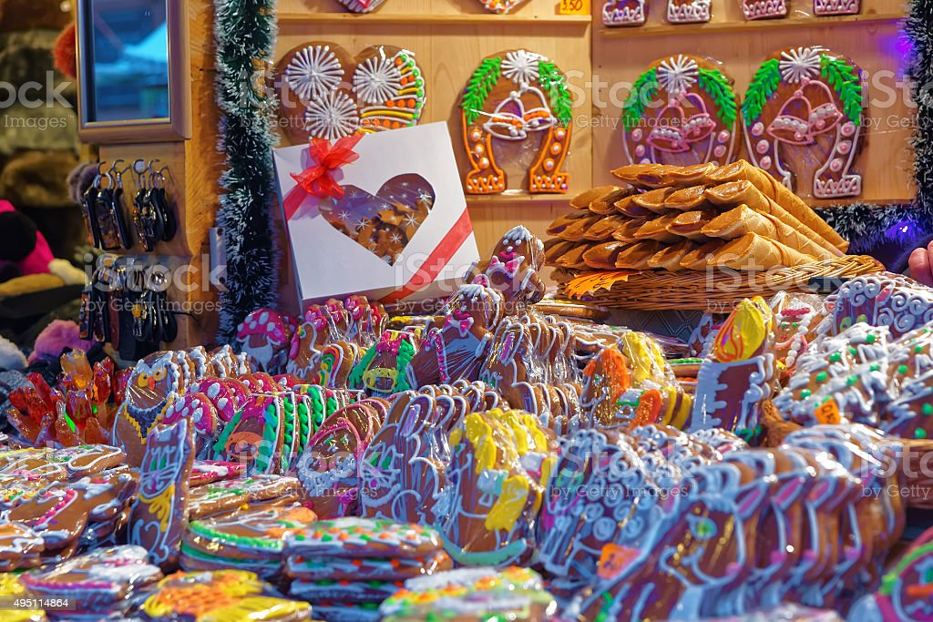 Christmas market and traditional gingerbread cookies stock photo