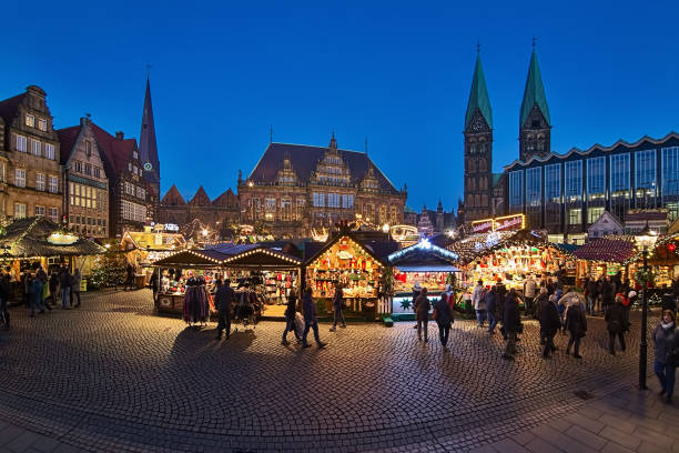 Christmas Market at Bremen Market Square, Germany stock photo